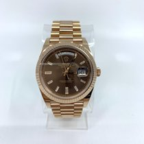 Rolex Rose gold Automatic Brown No numerals 40mmmm pre-owned Day-Date 40