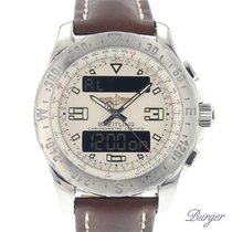 Breitling Airwolf pre-owned 44mm Silver Chronograph Date Weekday Month Alarm GMT Leather