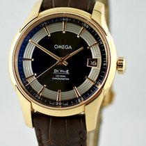 Omega Yellow gold Automatic Brown No numerals 41mm new De Ville Hour Vision