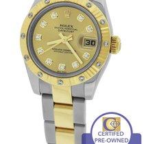 Rolex DateJust 26mm 179313 Champagne Diamond Two-Tone Gold Watch