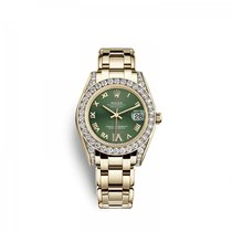 Rolex Pearlmaster Yellow gold 34mm Green