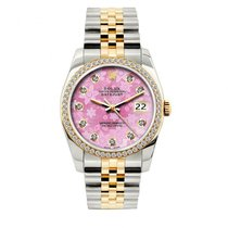 Rolex Datejust Men's 36mm Pink Floral Dial Yellow Gold And...