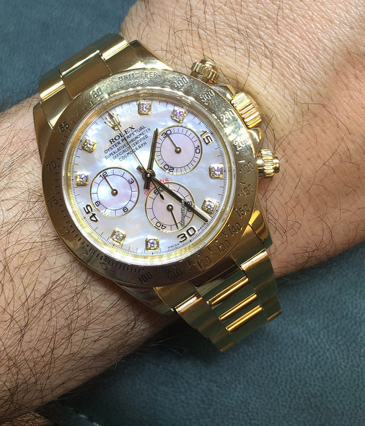 Rolex Daytona Yellow Gold Factory White Mother Of Pearl For