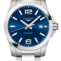 Longines Conquest Steel 41mm Blue Arabic numerals