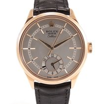 Rolex Cellini Dual Time Or rose 39mm Argent