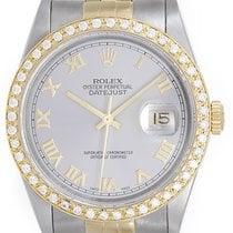 Rolex Datejust Men's 2-Tone Watch Steel/Gold 16233 Gray Roman...