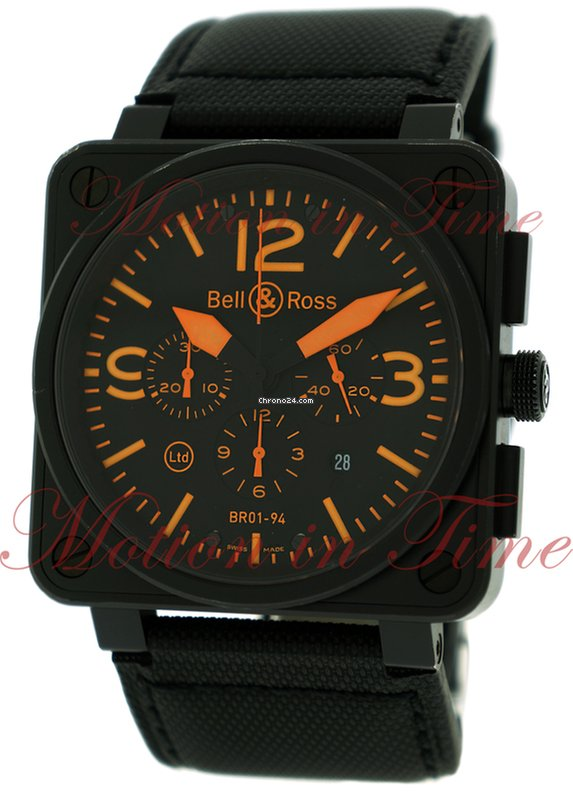 """Tag Watches For Sale >> Bell & Ross BR01-94 """"Orange"""", Chronograph, Black Dial, Limited... for $4,850 for sale from a ..."""