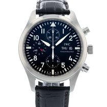 IWC Pilot Chronograph pre-owned 42mm Black Date Leather