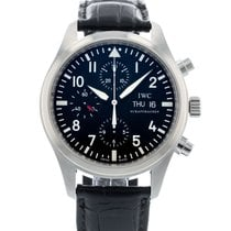 IWC Steel Automatic Black 42mm pre-owned Pilot Chronograph