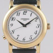 Andersen Genève Oro amarillo Cuerda manual Blanco Árabes 38mm usados