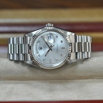 Rolex White gold Automatic Silver No numerals 36mm pre-owned Day-Date 36
