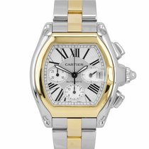 Cartier Roadster Gold/Steel 43mm Silver Roman numerals