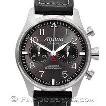 Alpina Startimer Pilot Automatic Stahl 44mm Grau Arabisch
