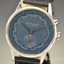 Nomos Glashutte World Timer Automatic Blue Dial 40MM Watch 807