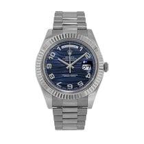 Rolex Day-Date II Vitguld 41mm Blå Arabiska