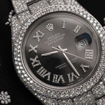 Rolex Datejust II SS Grey Roman Diamond Dial Iced Out Watch...