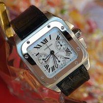 Cartier Santos 100 używany 42mm Biały Chronograf Data Skóra