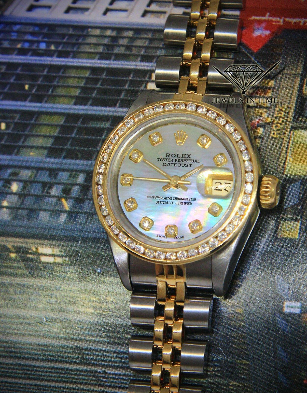 91f9f37715d Rolex Datejust 18k Yellow Gold/Steel MOP Diamond Dial/Bezel Ladies Watch  69173