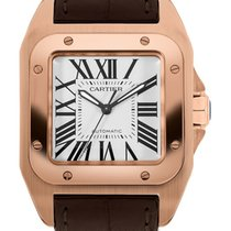 Cartier Rose gold Automatic Silver Roman numerals 44.2mm new Santos 100