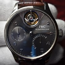 IWC White gold Automatic Grey Arabic numerals 44.2mm pre-owned Portuguese Tourbillon