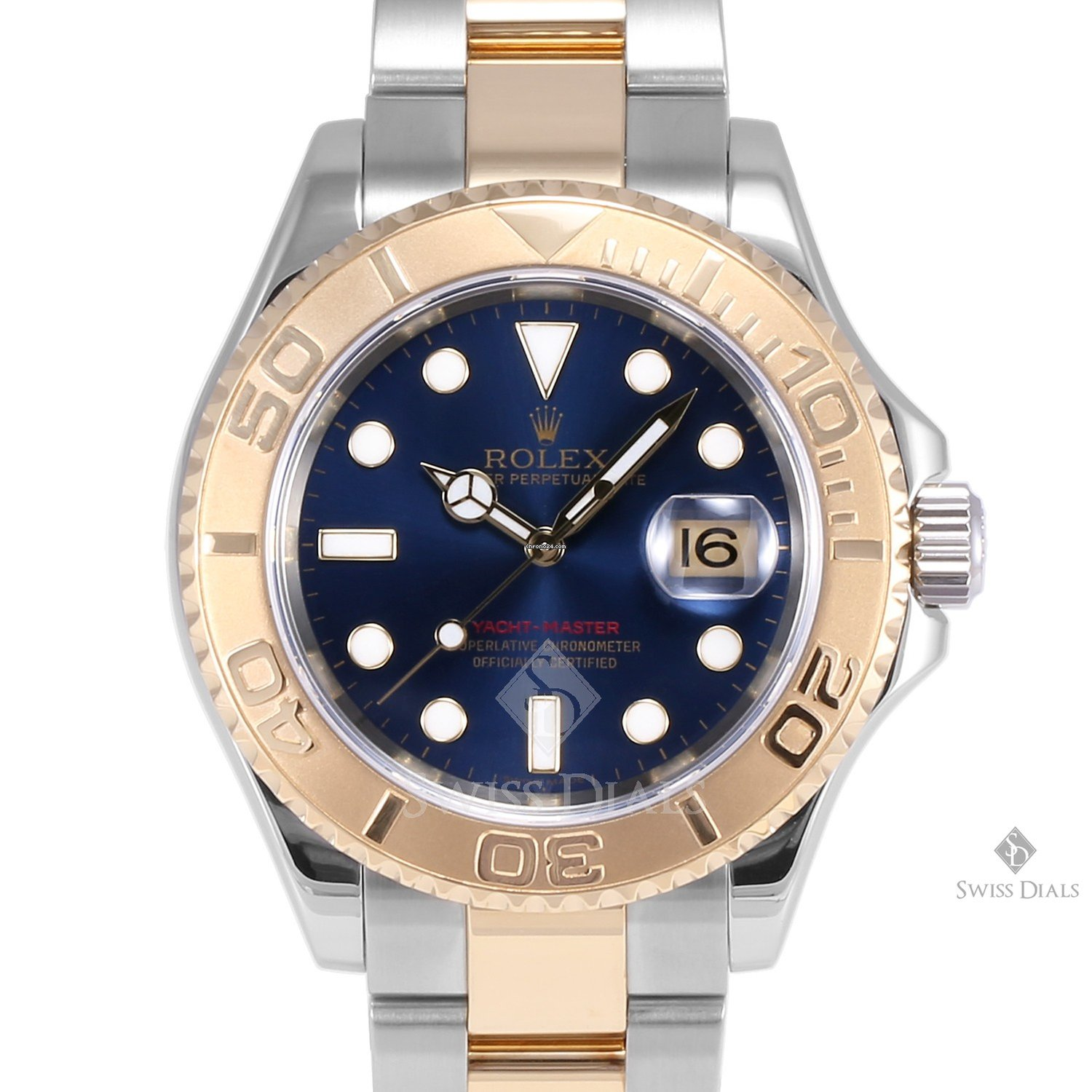 Rolex Yacht,Master Steel and Gold Blue Dial 60min Bezel