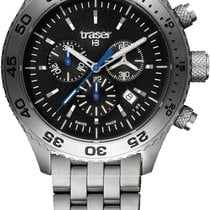 Traser Steel 46mm Quartz P59 Aurora Chronograph, Stahl  Qz mens watch new
