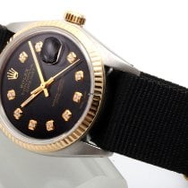 Rolex Datejust 16013-Blk-Diam-Leather Very good Gold/Steel 36mm Automatic