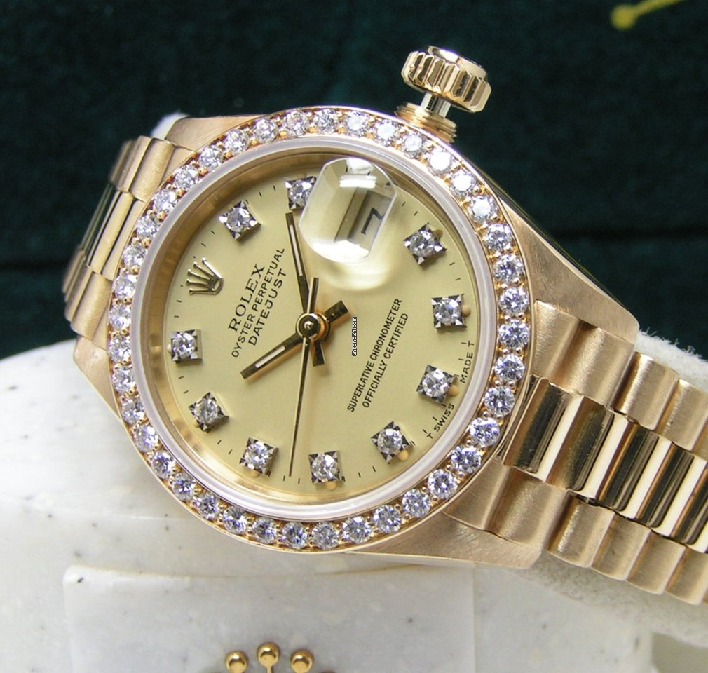 Rolex Lady President Datejust 26 Factory Diamond Dial Bezel Boxes