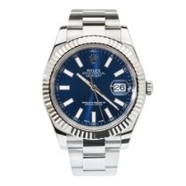 Rolex Datejust II Steel Blue Dial White Gold Fluted Bezel 41mm