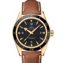 Omega Yellow gold Automatic Black new Seamaster 300