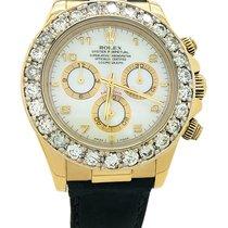 Rolex Daytona 5ct Diamond 18k Yellow Gold Leather 40mm Watch