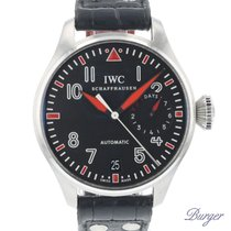 IWC Big Pilot tweedehands 46mm Zwart Datum Krokodillenleer