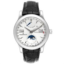 Jaeger-LeCoultre Master Calendar pre-owned 39mm Silver Moon phase Date Month Leather