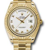 Rolex Day-Date II Oro amarillo 41mm Blanco Romanos