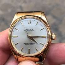 Rolex Oyster Perpetual 34 Or jaune 34mm Argent Sans chiffres