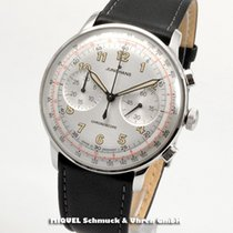 Junghans Meister Telemeter pre-owned 40.8mm Silver Chronograph Tachymeter Leather