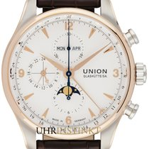 Union Glashütte Belisar Chronograph Aur/Otel 44,00mm Alb