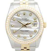 Rolex Datejust 18k Gold Diamond Steel Silver Automatic 116243NGWT