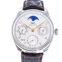IWC Portuguese Perpetual Calendar pre-owned 44mm Silver Leather