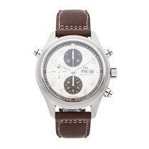 IWC Pilot Double Chronograph pre-owned 44mm Silver Chronograph Date Leather