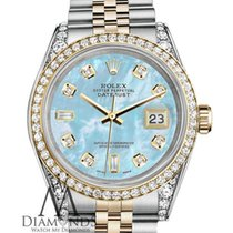 Rolex Stainless Steel - Gold 36 Mm Datejust Watch Baby Blue...