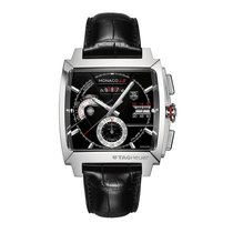 TAG Heuer Monaco Calibre 12 pre-owned 40mm Black Chronograph Date Leather