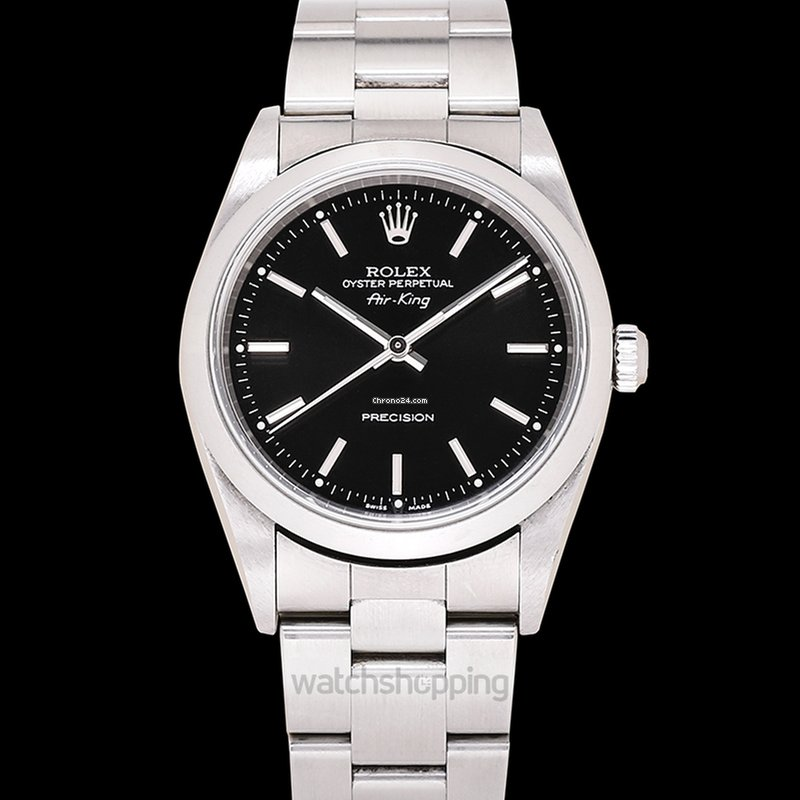 Rolex Air King Black Steel 34mm 14000