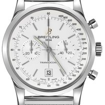 Breitling Transocean Chronograph 38 pre-owned 38mm Silver Chronograph Date Tachymeter Steel