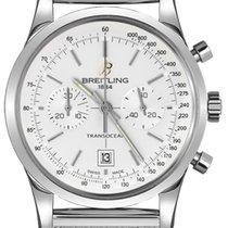 Breitling Transocean Chronograph 38 gebraucht 38mm Silber Chronograph Datum Tachymeter Stahl