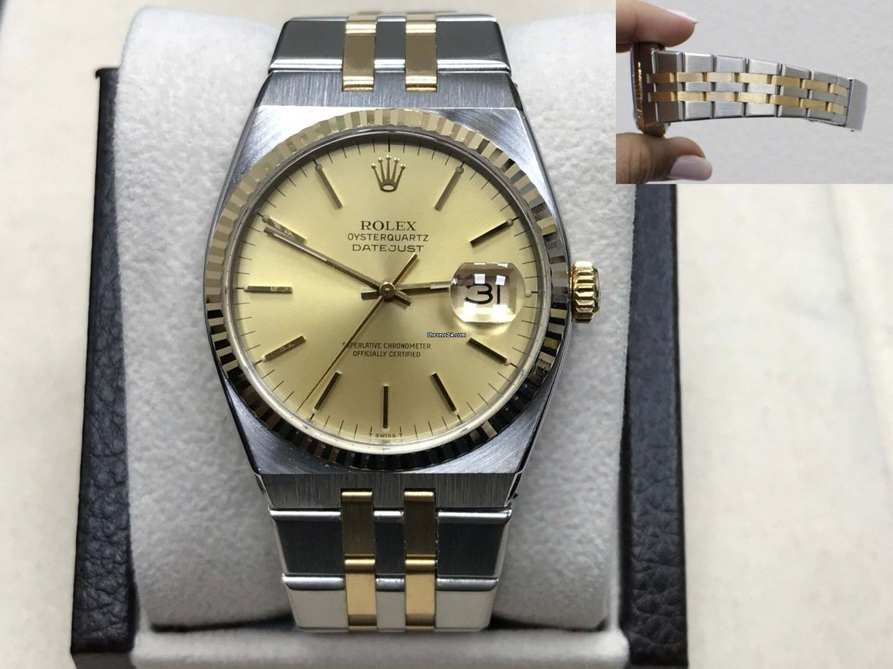 Rolex Oysterquartz 17013 Champagne Dial 18k Yellow Gold \u0026 Stainless Steel