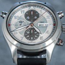 IWC Pilot Double Chronograph Steel 44mm Silver Arabic numerals