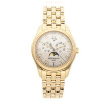 Patek Philippe Annual Calendar pre-owned 37mm White Moon phase Date Month Annual calendar Yellow gold