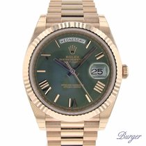 Rolex Day-Date 40mm Everose Gold Green Dial NEW