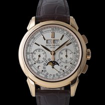 Patek Philippe Red gold Manual winding Silver 41mm pre-owned Perpetual Calendar Chronograph